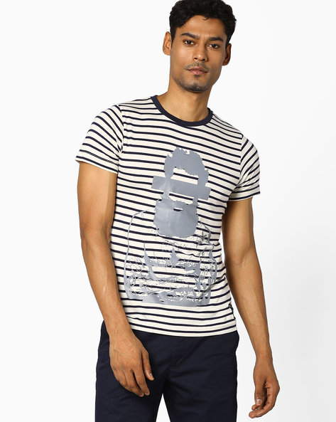 Striped T-shirt With Placement Print By KULTPRIT ( Multi )