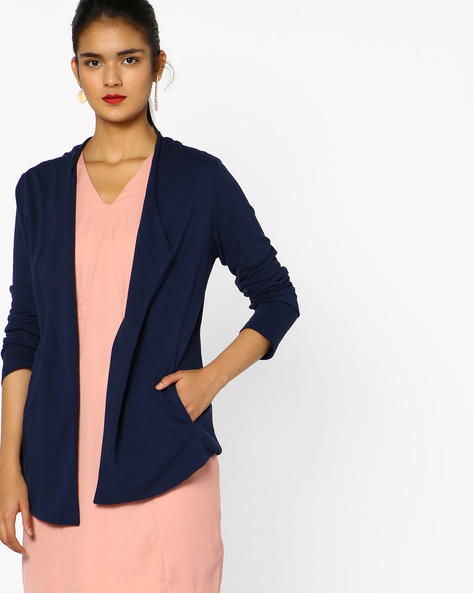 Cotton Shrug With Notched Lapel By Project Eve WW Casual ( Blue )