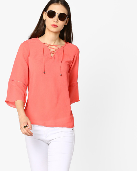 Lace-Up Top With Bell Sleeves By And ( Coral )