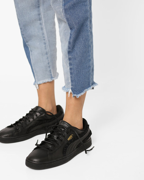 Leather Lace-Up Casual Shoes By Puma ( Black )
