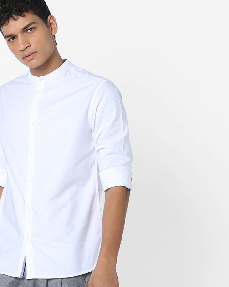 Classic Shirt With Band Collar By AJIO ( White )