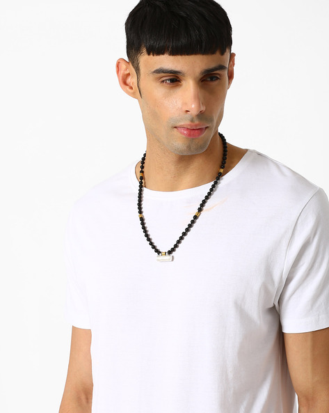 Beaded Neckpiece With Taweez Pendant By Alto Vida ( Black )