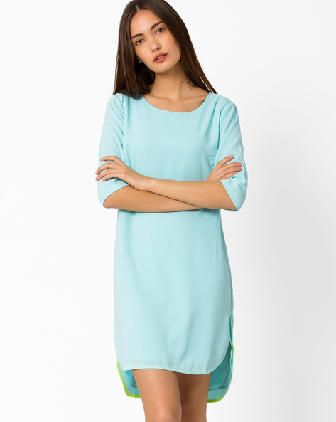 High-Low Dress With Back Cutout By AJIO ( Lightblue )