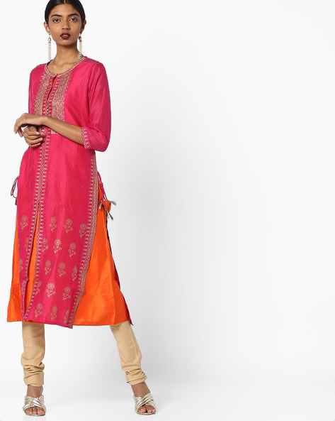 Layered Sequinned Kurta With Churidar By Melange By Lifestyle ( Fuschia )
