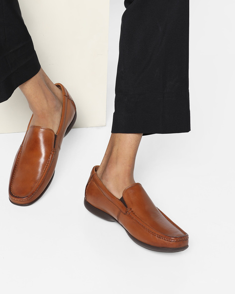 Genuine Leather Slip-On Loafers By CLARKS ( Tan )