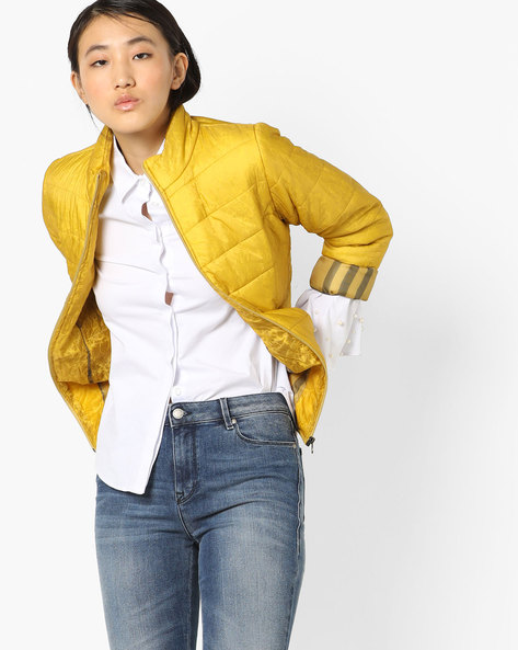 Quilted Jacket With Zipper By Fort Collins ( Mustard )