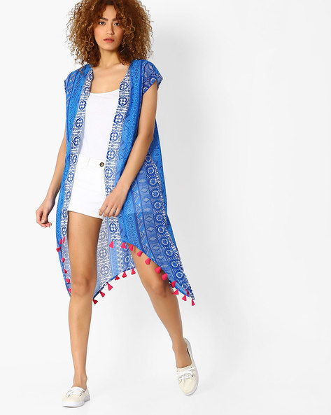 Printed Long Shrug With Contrast Trim By Indian Ink ( Blue )