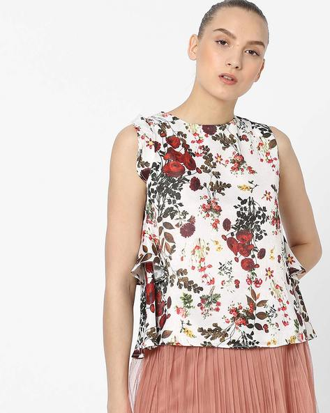Floral Print Sleeveless Top By AJIO ( White )