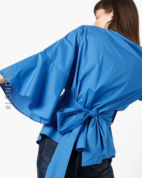 Wrap Top With Tie-Up By Closet London ( Blue )