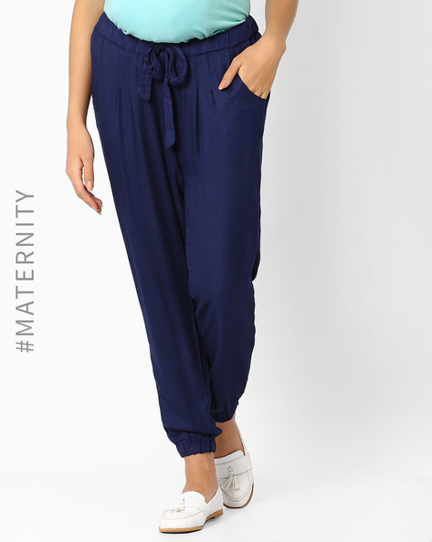 Pleated Materniity Pants With Tie-Up By AJIO ( Navyblue )
