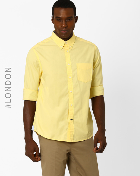 Cotton Poplin Shirt With Patch Pocket By Marks & Spencer ( Yellow )