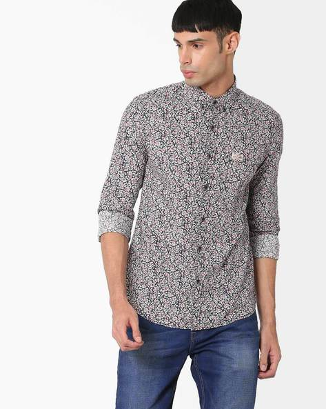 Floral Print Slim Fit Shirt By US POLO ( Navy )