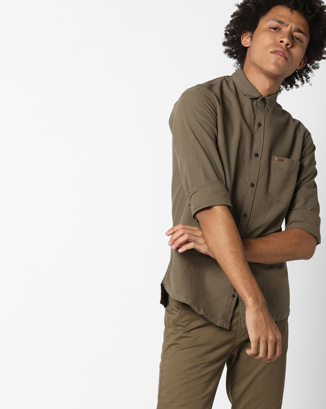 Cotton Shirt With Patch Pocket By AJIO ( Olive )