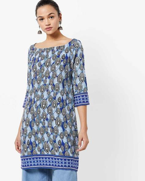 Tribal Print Tunic With Boat Neck By UNTUNG ( White )