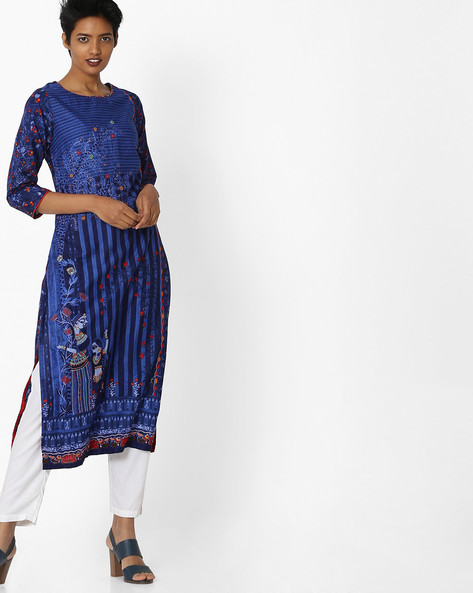Printed Cotton Straight Kurta By Biba ( Indigo )
