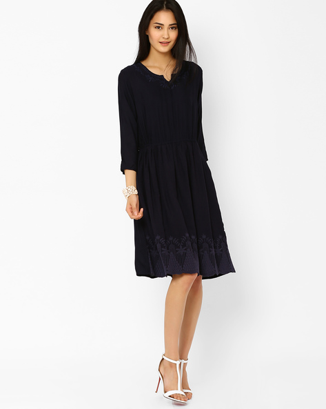 Embroidered Midi Dress By AJIO ( Blue )