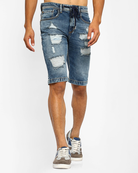 Distressed Denim Shorts With Drawstring Fastening By ADAMO LONDON ( Blue )