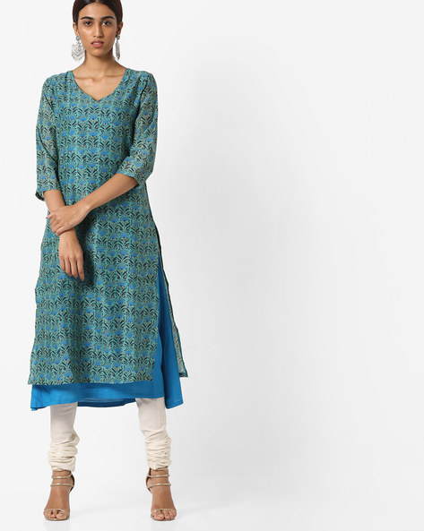 Floral Print Layered Kurta By AJIO ( Aqua )