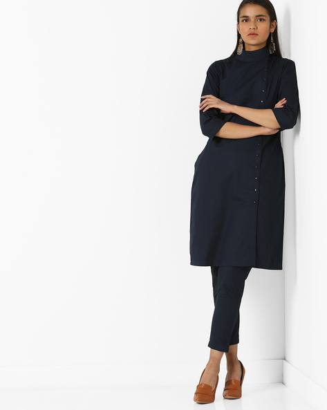 High-Neck Dress With Full Button Placket By AYAANY ( Navyblue )