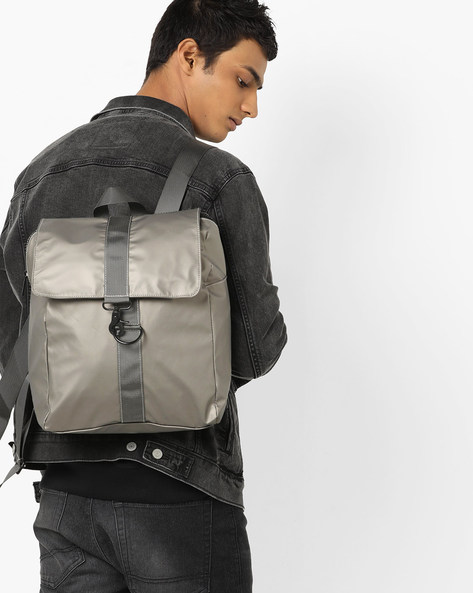 Backpack With Adjustable Shoulder Straps By AJIO ( Gold )
