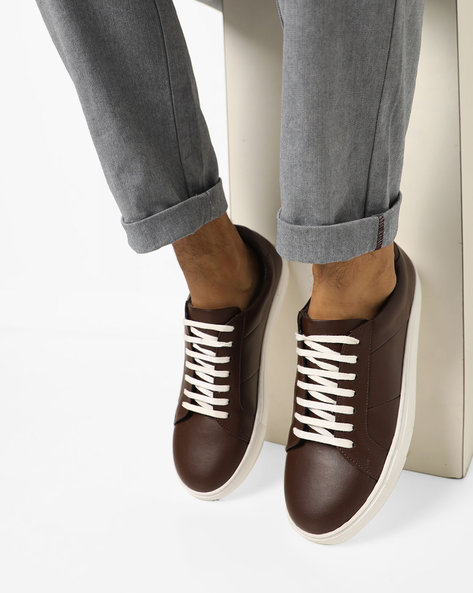 Panelled N9-Treated Lace-Up Sneakers By AJIO ( Darkbrown )