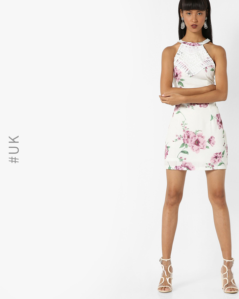 Halter-Neck Floral Bodycon Dress By OEUVRE ( Multi )