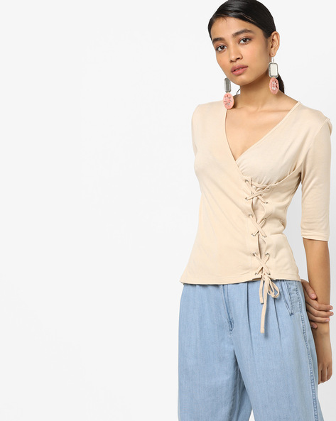 Knit T-shirt With Lace-Up By AJIO ( Beige )