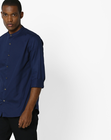 Pure Cotton Dobby Shirt By UNITED COLORS OF BENETTON ( Navyblue )