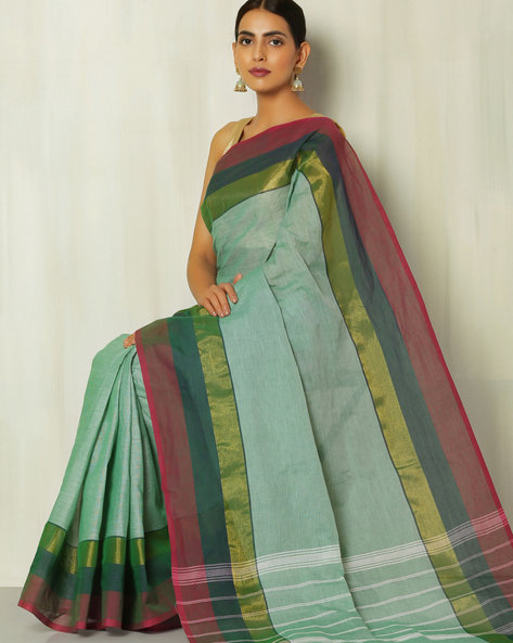 Kanchi Slub Cotton Saree With Woven Border By Indie Picks ( Aqua )