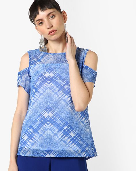 Printed Cold-Shoulder Top By And ( Blue )