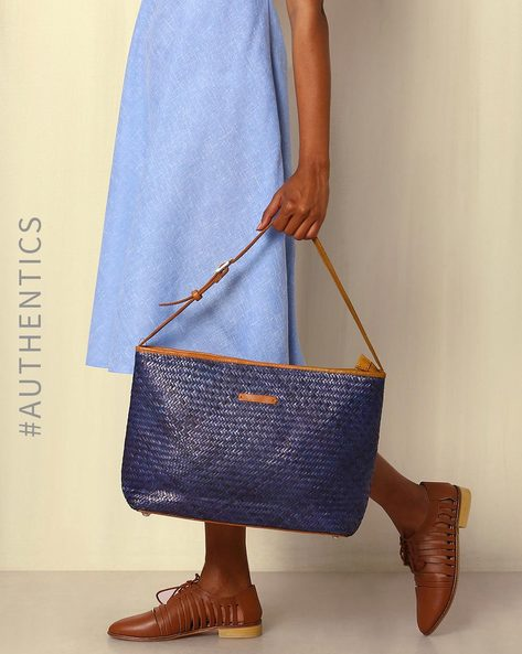 Handcrafted Natural Fibre Tote Bag By Indie Picks ( Blue )