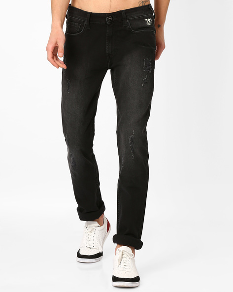 Lightly Washed Distressed Slim Jeans By Pepe Jeans ( Black )