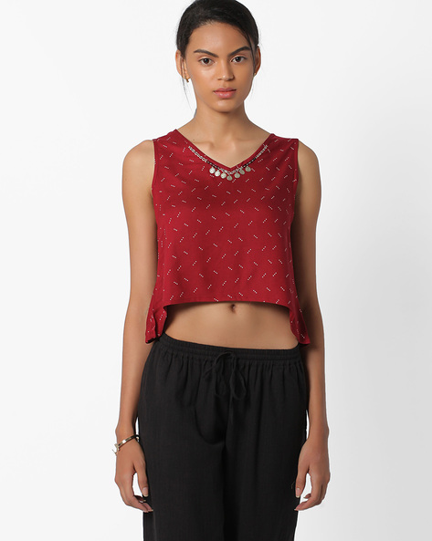 Printed Crop Top By Global Desi ( Red )