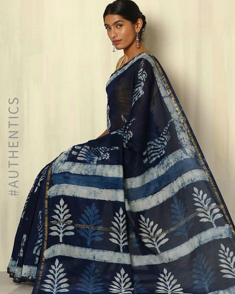 Handblock Print Indigo Chanderi Saree With Zari Border By Indie Picks ( Indigo ) - 460053728001