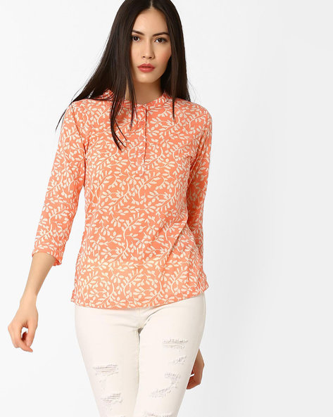 Printed Top With Mandarin Collar By BOSSINI ( Coral )