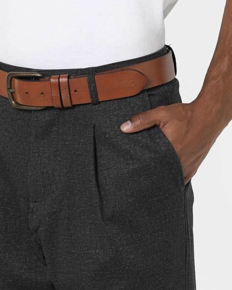 Genuine Leather Textured Belt By WRANGLER ( Lightbrown )