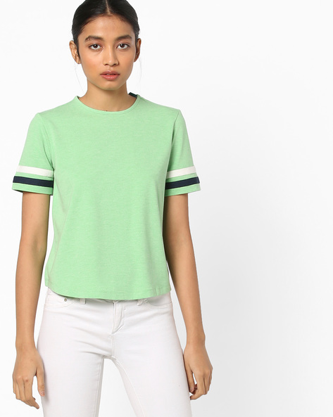 Heathered T-shirt With Contrast Tapings By AJIO ( Seagreen )