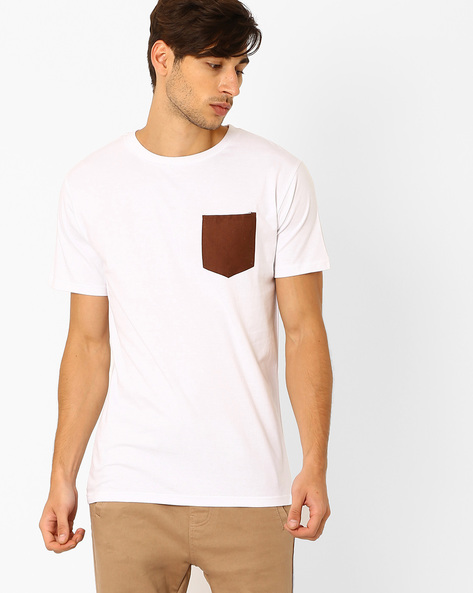 Slim Fit T-shirt With Patch Pocket By Blue Saint ( White )