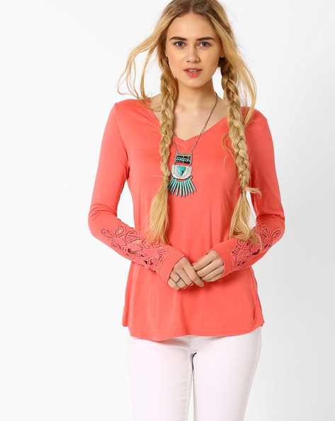 Top With Crochet Trim By AJIO ( Pink )