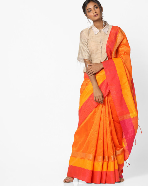 Pinstriped Saree With Contrast Border By Pihu ( Orange )