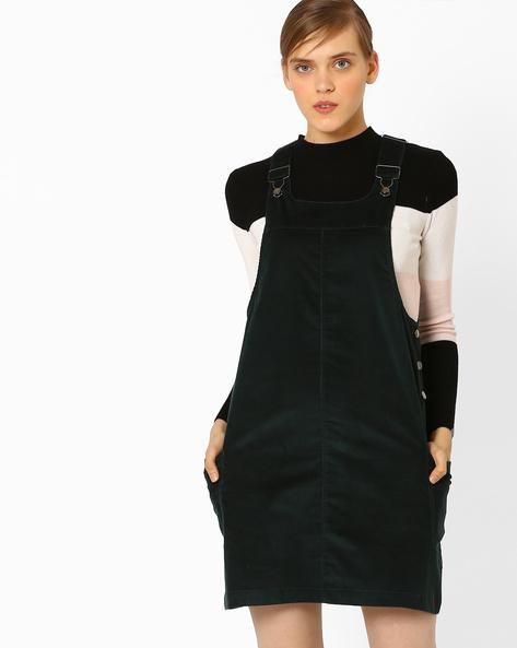 Pinafore Mini Dress By AJIO ( Teal )