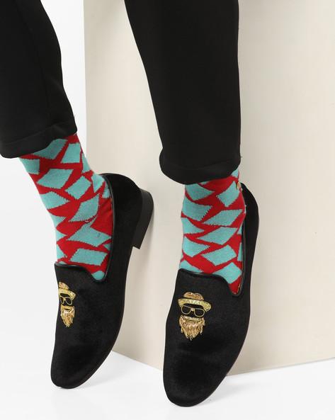 Velvet Loafers With Zardosi Work By Modello Domani ( Black )