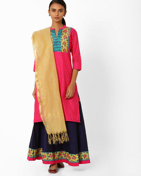 Printed Kurta Skirt With Dupatta By AVAASA SET ( Pink )