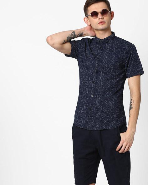 Floral Print Slim Fit Shirt By AJIO ( Darkblue )