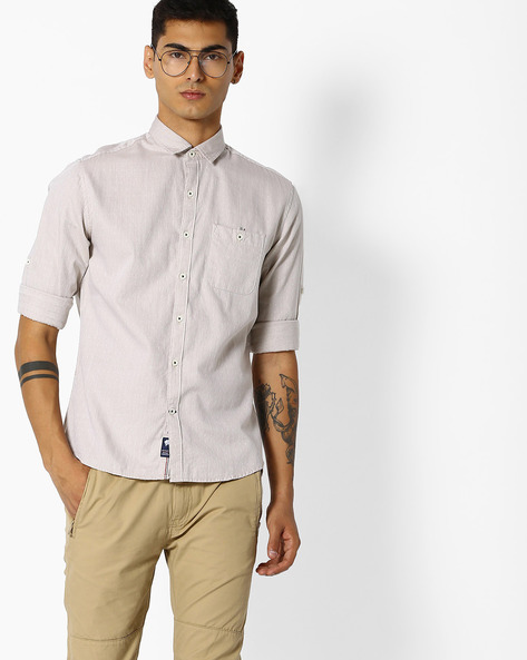 Woven Shirt With Buttoned Patch Pocket By NETPLAY ( Khaki )