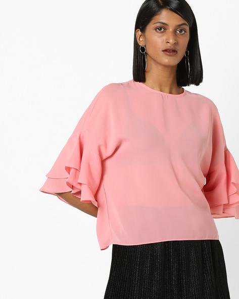 Top With Layered Drop-Shoulder Sleeves By 20Dresses ( Pink )
