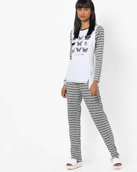 Printed T-shirt & Pyjama Set By Signature By Sweet Dreams ( Cream )