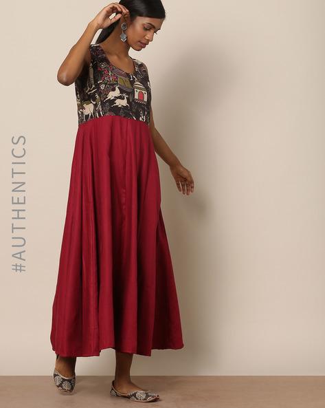 Kalamkari Print Pleated Cotton Dress By Indie Picks ( Multi )