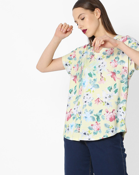 Floral Print V-neck Top By Project Eve WW Athleisure ( Yellow )