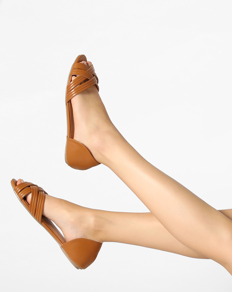 D'Orsay Shoes With Criss-Cross Upper By AJIO ( Tan )